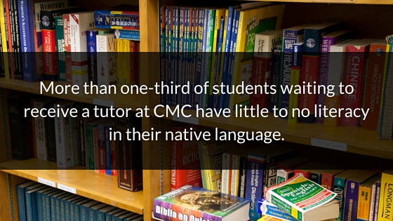 More than one-third of students waiting to receive a tutor at CMC have little to no literacy in their native language.