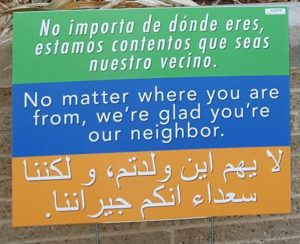 Neighbor welcome sign