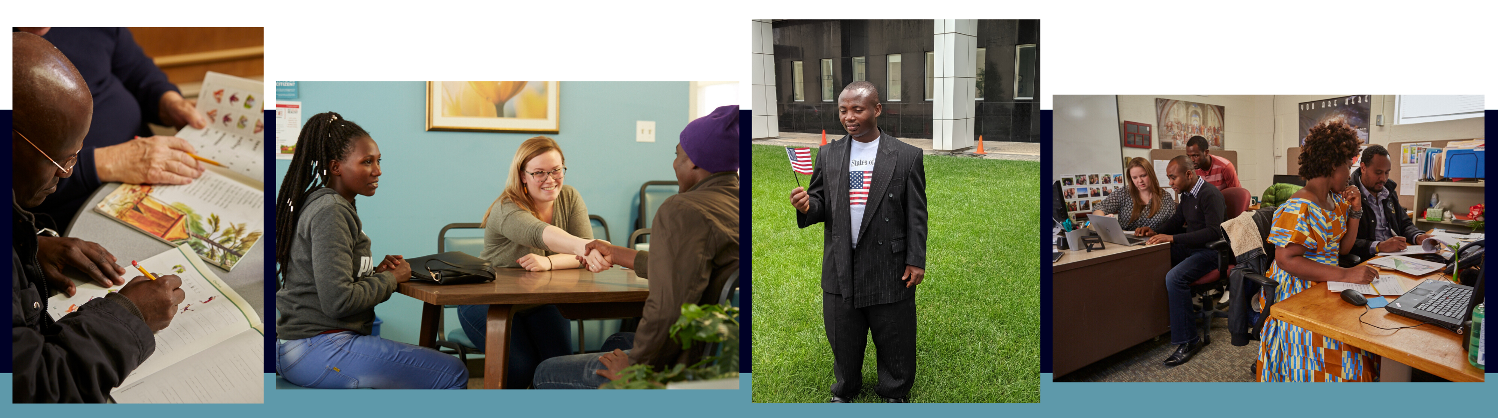 Header for Refugee and Immigrant Services. Man studying, man holding flag, people working at computers, people shaking hands.
